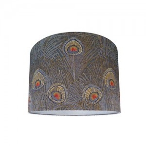 Liberty Of London Hera Slate Blue Peacock Feather Drum Lampshade 03573259B
